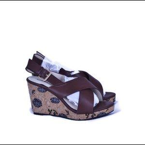 Annie Hypo Drive Sandals Wedges Cork Sling Back